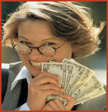 attractive woman holding one hundred and twenty us dollars