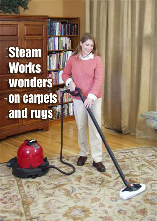 Woman steam cleaning carpet
